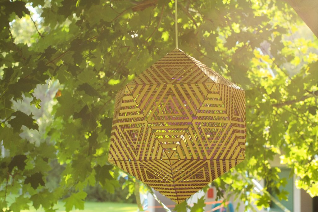Icosahedron Laser Cut light Art