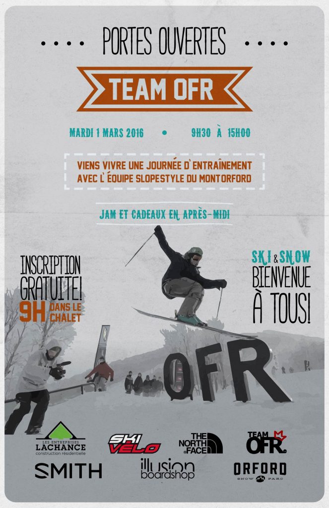 Snowboard and skiing competition event poster